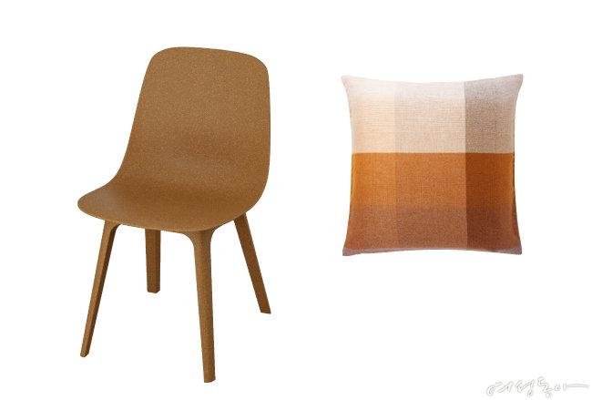 뉴트럴 인테리어에 가을 무드를 더해줄 미니멀한 디자인의 의자. 이케아(왼쪽). 베이지 컬러부터 진한 브라운 컬러까지 톤온톤으로 매치한 쿠션. 자라홈.