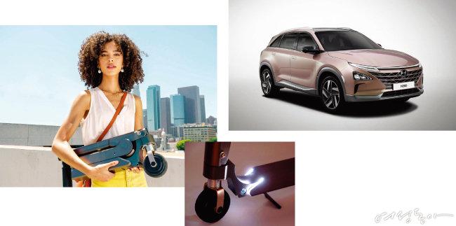 현대자동차가 최근 공개한 빌트인 타입 전동 스쿠터와 수소 자동차 넥쏘.