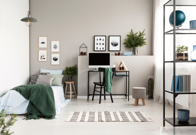 그레이지 컬러는 그레이와 베이지 두 컬러의 이중적인 매력을 담고 있어 방 전체를 페인팅하기에도 부담스럽지 않다. 노루페인트.