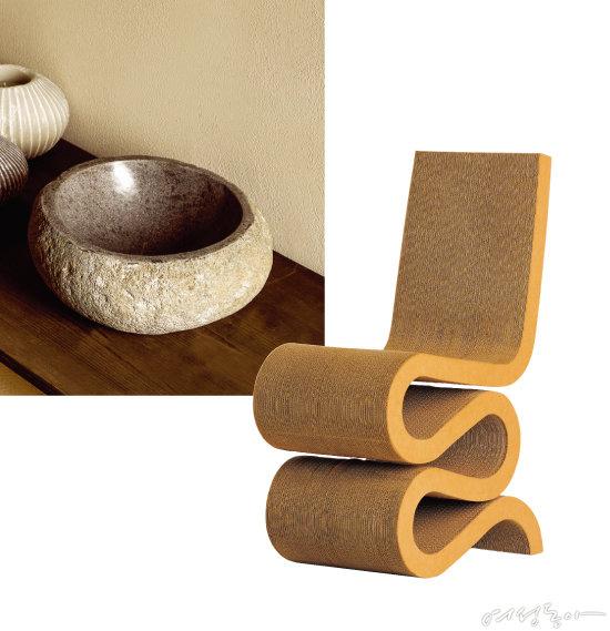 돌과 나무, 유리 등 소재의 특성을 잘 살려 제작한 소품은 집 안에 자연을 들이기에 좋은 아이템이다. 자라홈(왼쪽). 골판지를 사용해 만든 사이드 체어. 매우 견고하고 편안하다. 짐블랑.