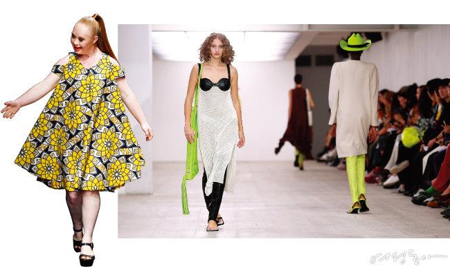 LA패션위크 런웨이에 오른 다운증후군 모델 마델린 스튜어트. 최근 마델린처럼 미에 대한 고정관념을 깨는 다양한 배경과 신체조건을 지닌 모델들이 등장하고 있다(왼쪽). 윤춘호 디자이너의 2020 S/S 런던패션위크우먼즈 컬렉션 무대. 이너웨어인 코르셋, 브래지어를 활용한 디자인으로 페미니즘과 여성성에 관한 자신만의 해석을 선보였다.