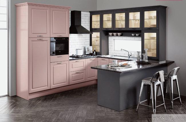 키친 팔레트 시리즈는 도어와 컬러, 손잡이를 마음대로 선택해 맞춤형 주방을 실현한다. 에넥스.