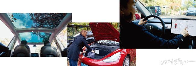 파노라마 선루프, 프렁크, 중앙 패드는 모델3의 특장점이다.