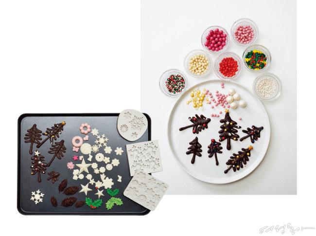 초콜릿 크리스마스트리는 다양한 크기로 만드는 것이 포인트. 스프링클이나 슈거볼로 장식하면 블링블링한 연말 느낌을 더할 수 있다.