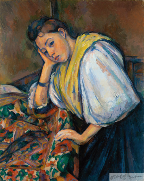 Paul Cezanne, Young Italian Woman at a table.