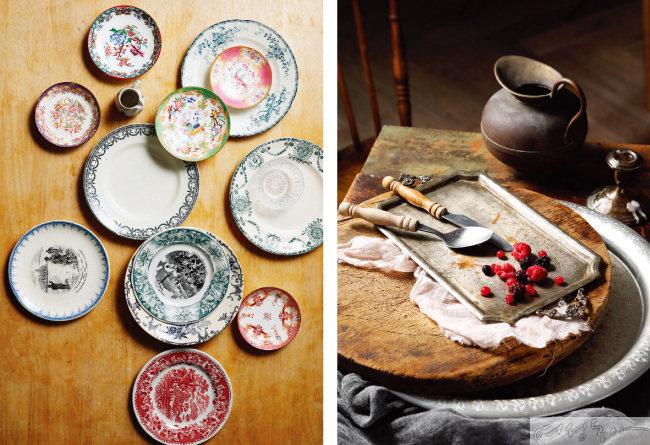 프랑스 파리의 방브마켓에서 구입한 빈티지 그릇(왼쪽). 앤티크한 그릇의 깊이와 멋에 빠진 그의 취향을 고스란히 반영한 식기들.