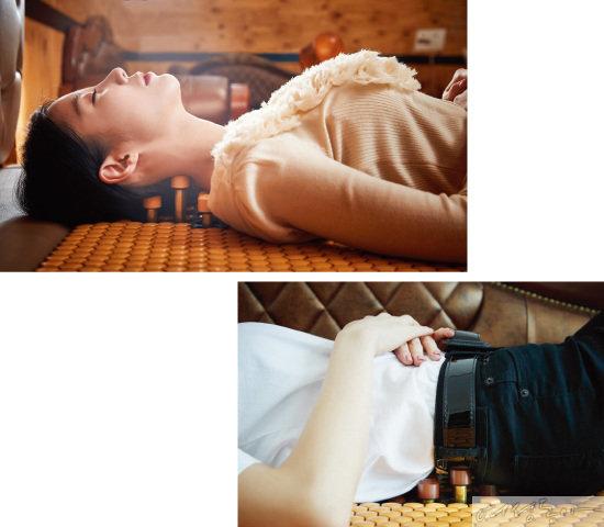 남혜정 채널A 기상캐스터가 (주)쓰리에이치의 '3H지압침대' 3H-1400(더블 사이즈) 모델을 체험해보고 있다.