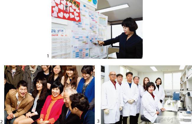 1 그룹의 로드맵을 설명하는 김해련 회장.  2 송원김영환장학재단 장학생과 함께.  3 에스비씨 연구실에서 직원들과.