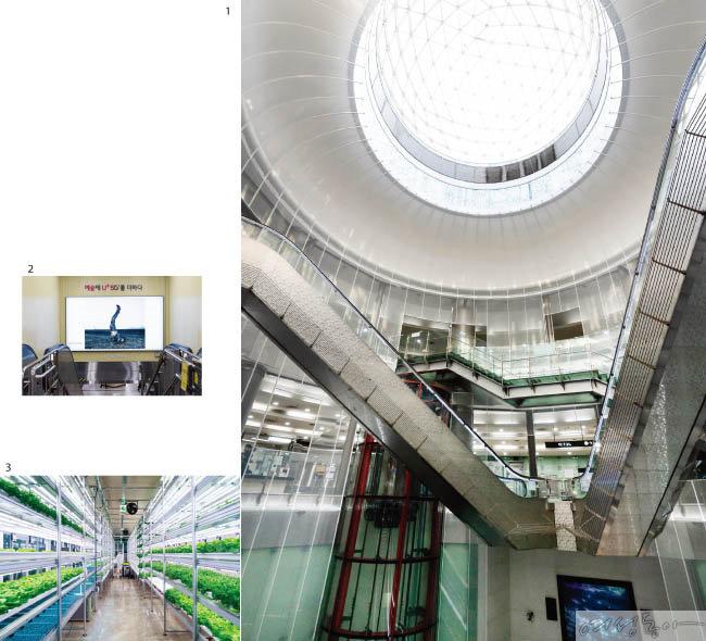 1 천장 중앙의 대형 유리 돔으로 햇빛이 투과되는 녹사평역.  2 공덕역 환승 계단에도 대형 작품이 걸려 있다. 3 상도역 '메트로팜'에서는 인공광을 이용해 수경재배 방식으로 채소를 키운다.