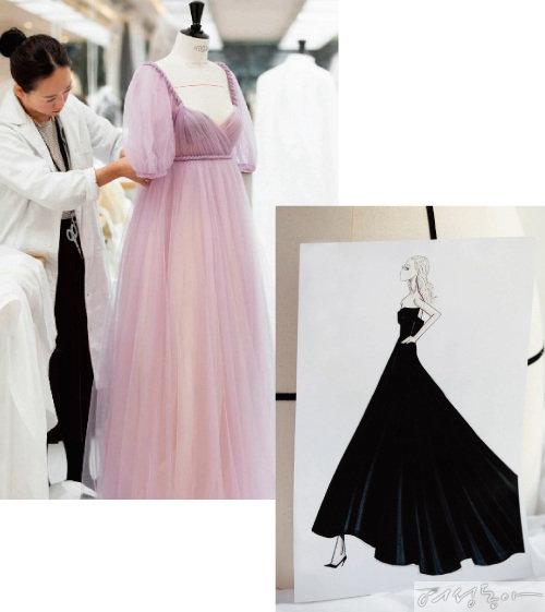 다코타 패닝의 드레스 패턴 디자인 작업을 하는 임세아 씨. 오른쪽은 제니퍼 애니스톤의 드레스 스케치. 패턴 디자이너는 디자이너가 스케치한 드레스를 실물로 구현하는 작업을 한다.