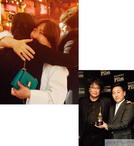 아카데미 시상식에 참석한  봉 감독의 아내 정선영 씨.  지난 1월 미국 산타바바라 국제영화제에 참석한  봉 감독과 아들 효민 씨(아래).