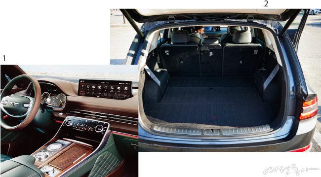 1 나란히 배열된 메뉴와 기어 변속 조그셔틀. 2 3열을 접은 상태의 트렁크 공간.
