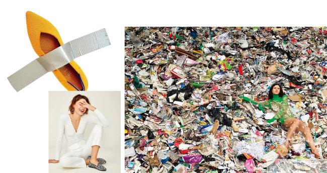 친환경 플랫 슈즈 로티스(왼쪽). 스텔라매카트니 광고 캠페인.