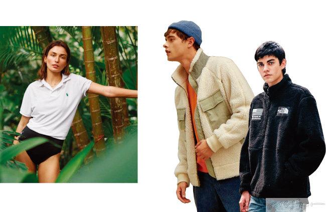 랄프로렌의 '어스 폴로' 티셔츠. 나우(nau) 플리스 재킷. 노스페이스 스노우 시티 플리스 재킷(왼쪽부터).