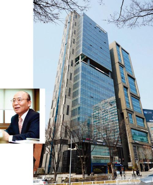 이봉관 회장(왼쪽)과 서울 서초동 서희건설 사옥.