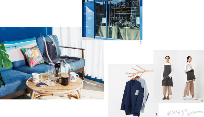 1 '위드굿즈' 플랫폼을 통해 판매 중인 제품들과 '제로 디자인'의 인기 아이템인 앞치마. 2 '위드굿즈'에서는 1개부터 필요한 양만큼만 주문 제작할 수 있어 재고 걱정이 없다. 3 4 제로 웨이스트 디자인이 구현된 브랜드 '제로 디자인'의 옷과 앞치마, 가방.