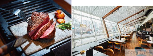 블랙 앵거스로 만든 프리미엄 스테이크도 인기다(왼쪽). 고급스러운 분위기의 레스토랑 내부 모습.