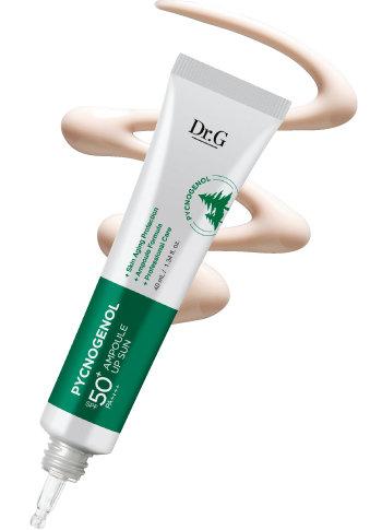 닥터지 피크노제놀 앰플 업 선 SPF50+ PA++++  피크노제놀 10만 ppm을 함유하고 있어 피부를 더 맑고 건강하게 완성하는 항산화 앰플 선크림. 드롭식 토출구로 사용 편의를 더했다. 40ml 3만5천원.