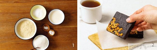1 스콘에 들어가는 재료들. 아몬드 가루, 에리트리톨, 생크림, 소금, 베이킹파우더, 코코넛 가루(왼쪽 큰 볼부터 시계 방향으로).  2 밀가루 대신 콩가루, 설탕 대신 말티톨을 넣어 만든 콩브라우니.
