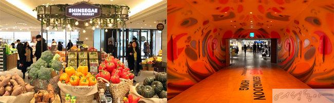 신세계백화점 영등포점은 백화점 최초로 1층에 식품관을 오픈해 화제를 모은다. 사진은 1층 식품관과 영패션 아트월의 모습.
