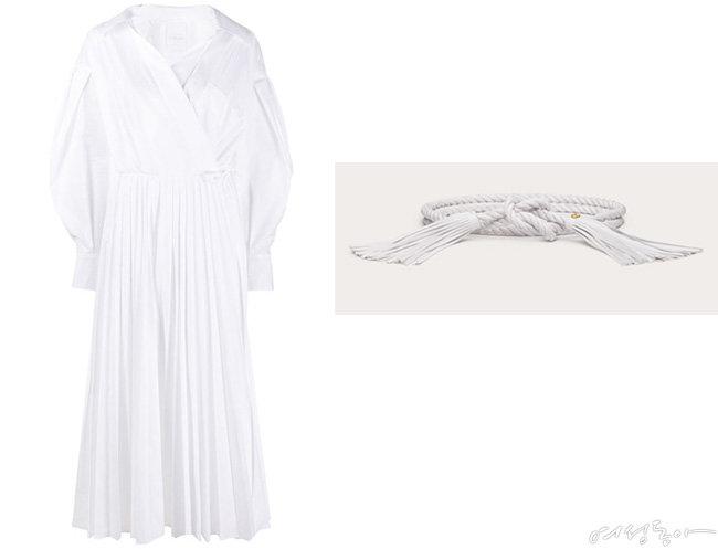 발렌티노 테크니컬 포플린 셔츠 드레스. 가격미정(왼쪽).  발렌티노 오버사이즈 태슬 장식 로프 벨트. 가격미정.