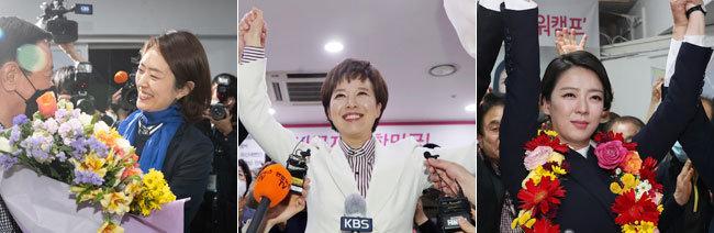 아나운서 출신 고민정, 김은혜, 배현진 당선인. [뉴스1]