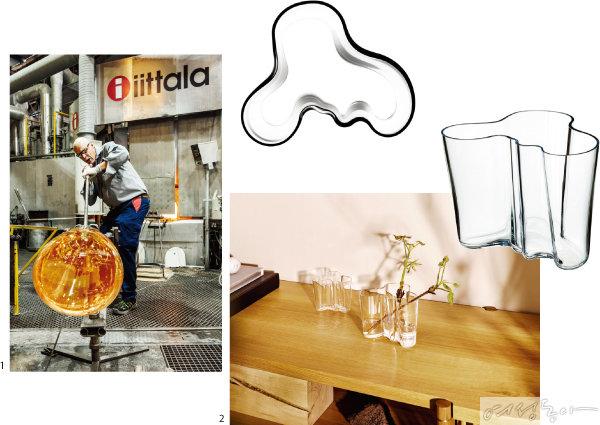 1 이딸라의 글라스웨어는 입으로  한 숨 한 숨 불어 제작한다.  2 이딸라 알바 알토 컬렉션의 화병은 핀란드 디자인의 아이콘과 같은 작품이다.