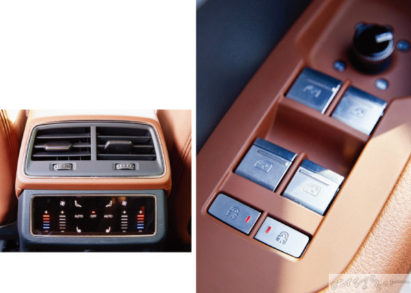 단계별로 온도를 조절할 수 있는 뒷좌석 공조기 버튼(왼쪽). 개별적으로 설정할 수 있는 차일드 록 버튼.