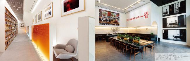 혼자 오붓하게 독서하는 재미를 누릴 수 있는 1인용 서가(왼쪽). 1층에 자리한 카페 겸 와인 바 '투바이투'.