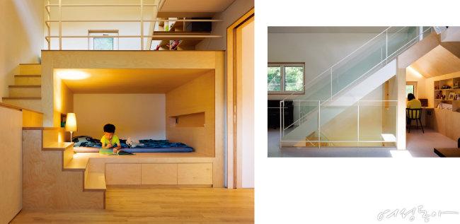 높은 층고를 활용해 층과 층 사이를 나누는 스킵플로어 형식으로 배치한 예준이 방. 아이의 꿈과 행복이 자라는 공간이다(왼쪽).  2층에서 3층으로 오르는 계단 아래의 데드 스페이스에는 아내만을 위한 독립된 서재 공간이 자리한다. 가구 공방에서 직접 오더 메이드한 가구들로 서재에 있으면 마치 작은 숲속에 와 있는 듯한 착각을 불러일으킨다.