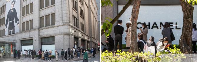 프랑스 명품 브랜드 샤넬의 일부 품목 가격 인상을 하루 앞둔 5월 13일, 서울 중구 신세계백화점 본점 샤넬 매장 앞에 사람들이 길게 줄지어 서 있다.