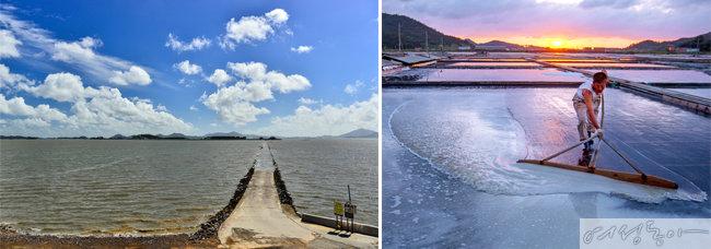 증도의 부속섬 화도로 가는 길. 사진 유경숙(왼쪽). 증도 염전 풍경. 사진 이우석