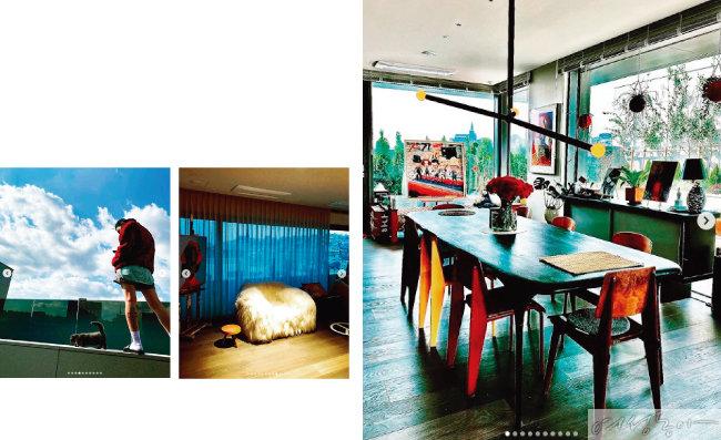 지드래곤이 자신의 인스타그램 계정에 올린 나인원 한남 펜트하우스 내부 사진들.