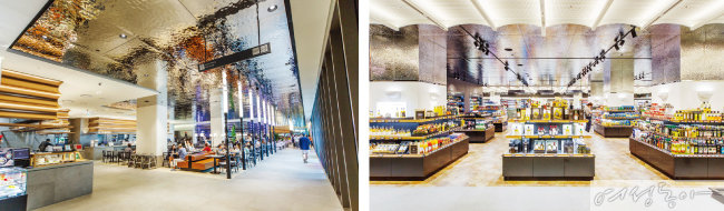 핫한 맛집이 모여 있는 캐주얼 다이닝 공간(왼쪽).  특이한 수입 식재료가 즐비한 고메이494 마켓.