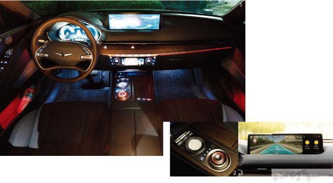 1 앞좌석은 디자인을 최소화해 깔끔하면서도 세련된 분위기를 풍긴다. 2 운전석 터치식 컨트롤러와 조그셔틀형 기어 변속 시스템.  3 중앙부 14.5인치 디스플레이어에 증강현실 내비게이션을 적용한 모습.