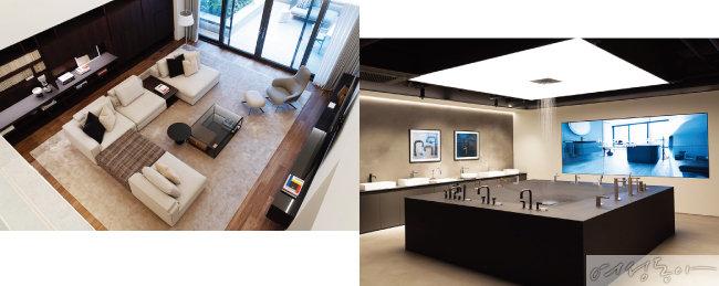 2층 '리얼 하우스'의 거실 전경(왼쪽).  천장에서 물이 떨어지는 모습이 색다른 볼거리를 제공하는 4층 쇼룸.