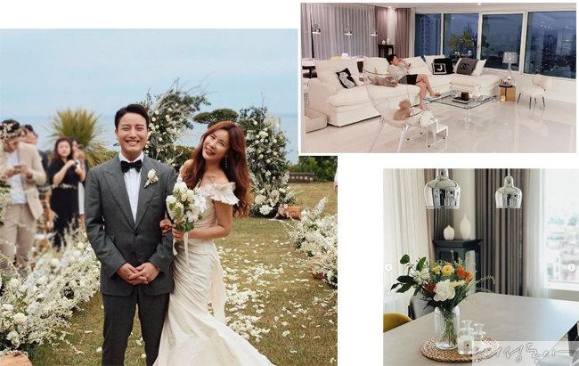 지난 5월 제주도에서 결혼식을 올린 김준희 부부의 웨딩사진과 모던한 분위기의 신혼집.