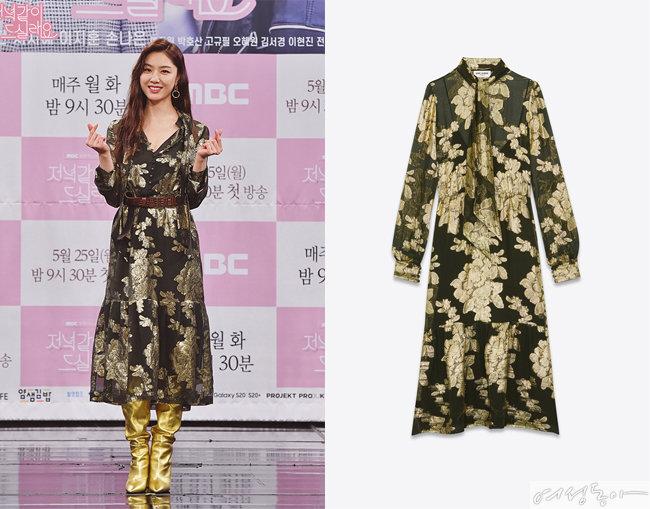 메탈릭한 플로럴 패턴이 매력적인 드레스, 3백97만원, 생로랑.