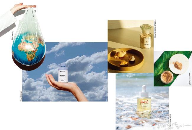 1 물과 방부제를 사용하지 않는 미국 브랜드 롤리.  2 파우더 샴푸를 판매하는 헤어 브랜드 OWA.  3 파우더 마스크팩을  출시한 가이모건.  4 2016년 '물 없는 아름다움'을 표방하며 론칭한 핀치오브컬러.  5 물 대신 식물 속  영양 오일을 활용하는 스킨앤센시스.