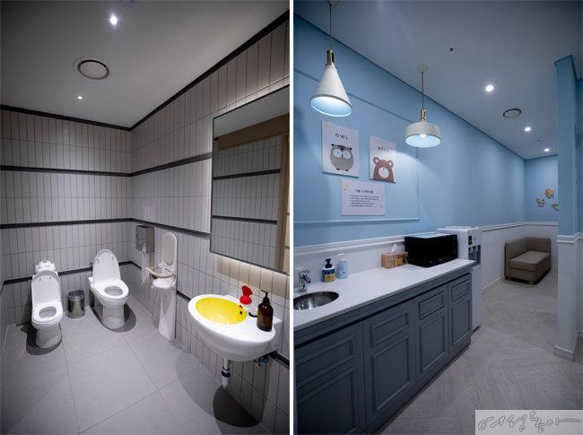 남녀 모두 이용가능한 가족 화장실과 넓고 쾌적하게 리모델링한 유아휴게실.