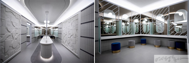 파우더룸까지 갖춘 럭셔리한 여자 화장실.