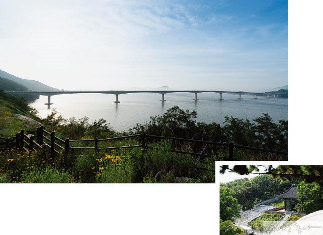 근사한 풍경의 석모대교 모습(위).  동양화처럼 아름다운 보문사 모습.