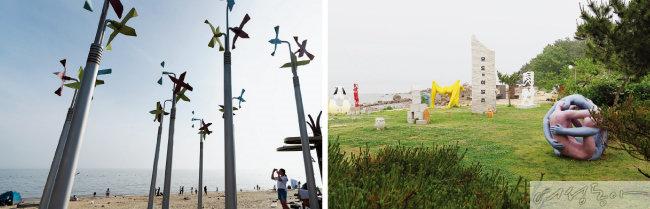 석모도 민머루해변의 대형 바람개비(왼쪽). 모도에 자리한 배미꾸미조각공원.