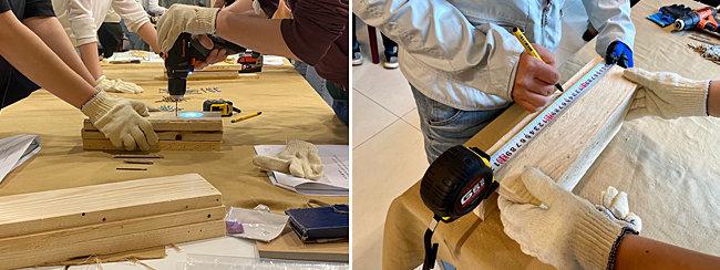전동드릴을 이용해 목재 작업을 하는 모습(왼쪽). 목공 작업을 위해 자를 이용해 재료를 측정하고 있는 모습.