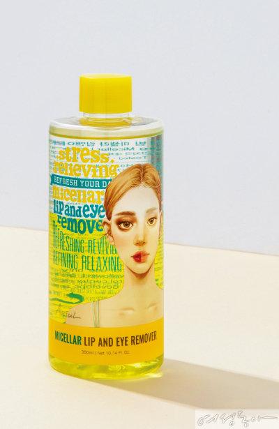 아리얼 스트레스 릴리빙 미셀라 립앤아이 리무버  마이크로 미셀라 솔루션™ 처방으로 워터프루프 제품이나 매트 립 제품은 물론 미세 잔여물까지 깨끗하게 지운다. 300ml 1만8천원, 100ml 8천원.
