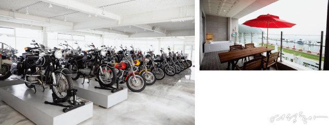 할리데이비슨과 BMW의 빈티지 오토바이를 만날 수 있는 '바이크 갤러리'(왼쪽). 커다란 베란다에는 대형 월풀 욕조가 있어 물놀이를 즐길 수 있다.