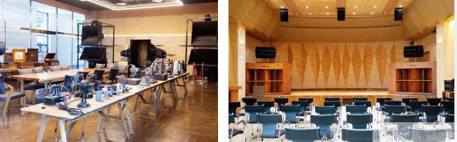 천천히 둘러보며 감상하기 좋은 '아날로그홀' 전경(왼쪽). 1930~40년대 사용됐던 귀한 아날로그 스피커가 구비된 공연장.
