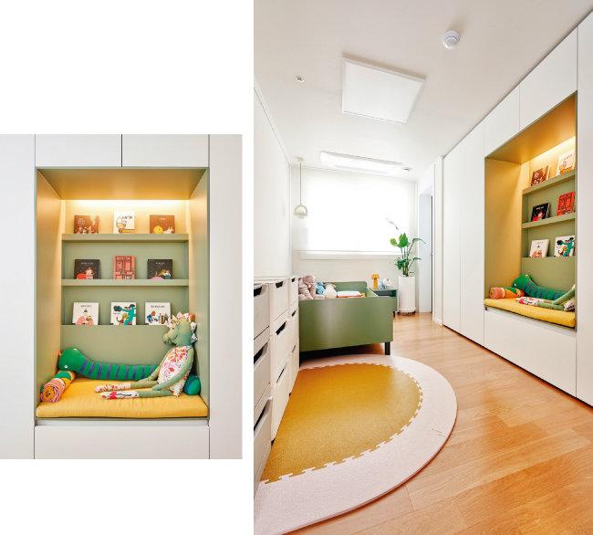 붙박이장 사이에 선반 및 벤치 공간을 두어 아이가 엄마와 함께 책을 읽고 놀이를 할 수 있는 공간으로 꾸몄다(왼쪽). 올리브그린 컬러 가구와 아기자기한 소품들로 채워진 아이 방.