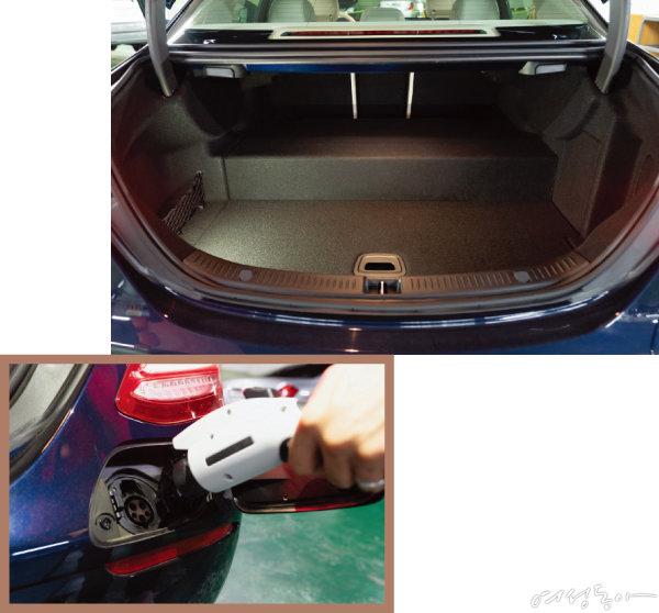배터리 적재 공간 확보로 인해 트렁크 공간이 다소 좁아졌다(위). 벤츠 전용 충전기 사용 시 완충까지 1시간 45분이 소요된다.