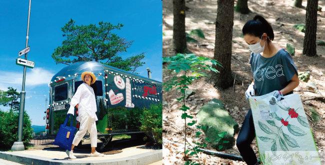 버려진 지퍼를 재활용해 만든 '에크레아' 가방을 든 모습(왼쪽).  6월 5일 '환경의 날'에 조깅을 하며 쓰레기를 줍는 '플로깅'을 하는 박진희.